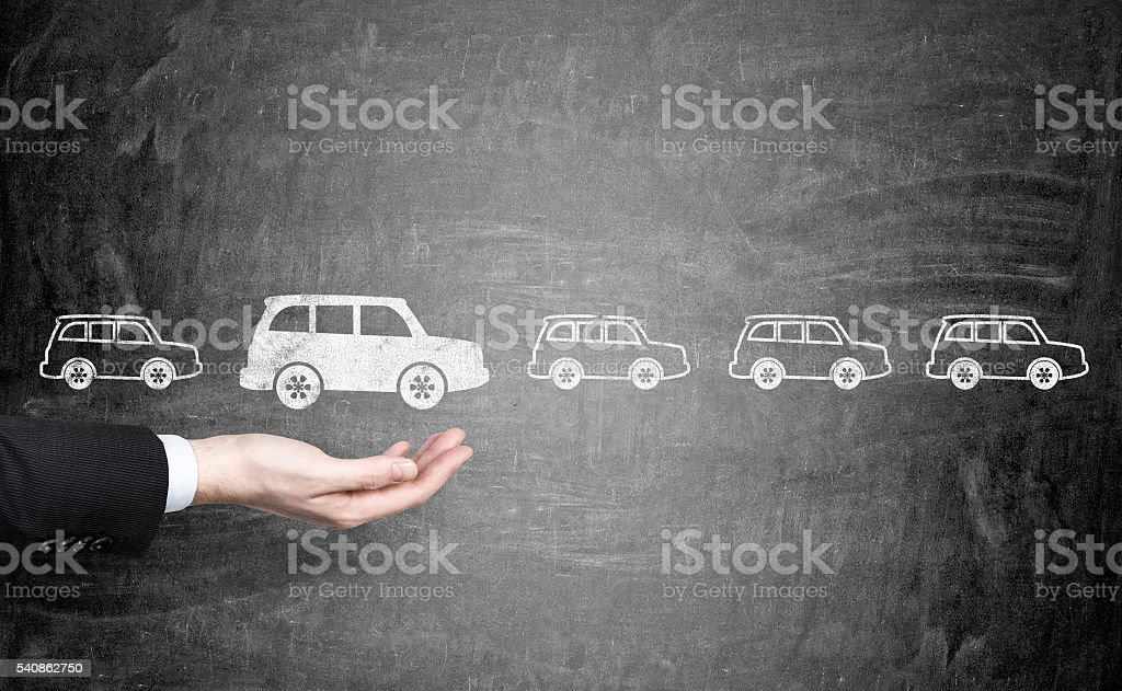 Man choosing white car stock photo