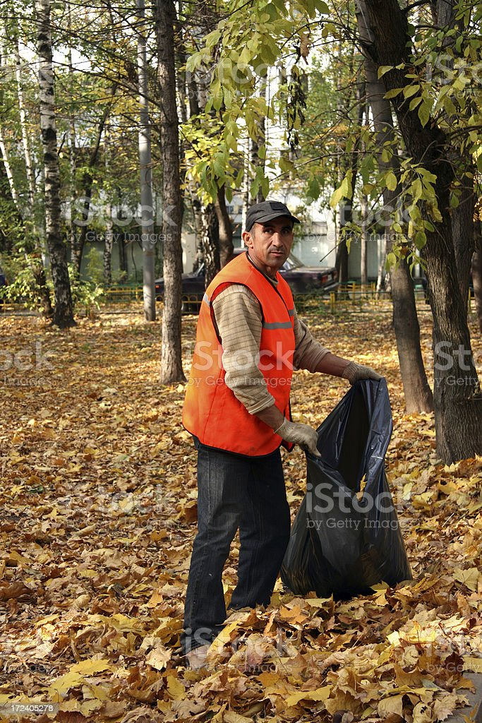 Man cleans leaves royalty-free stock photo