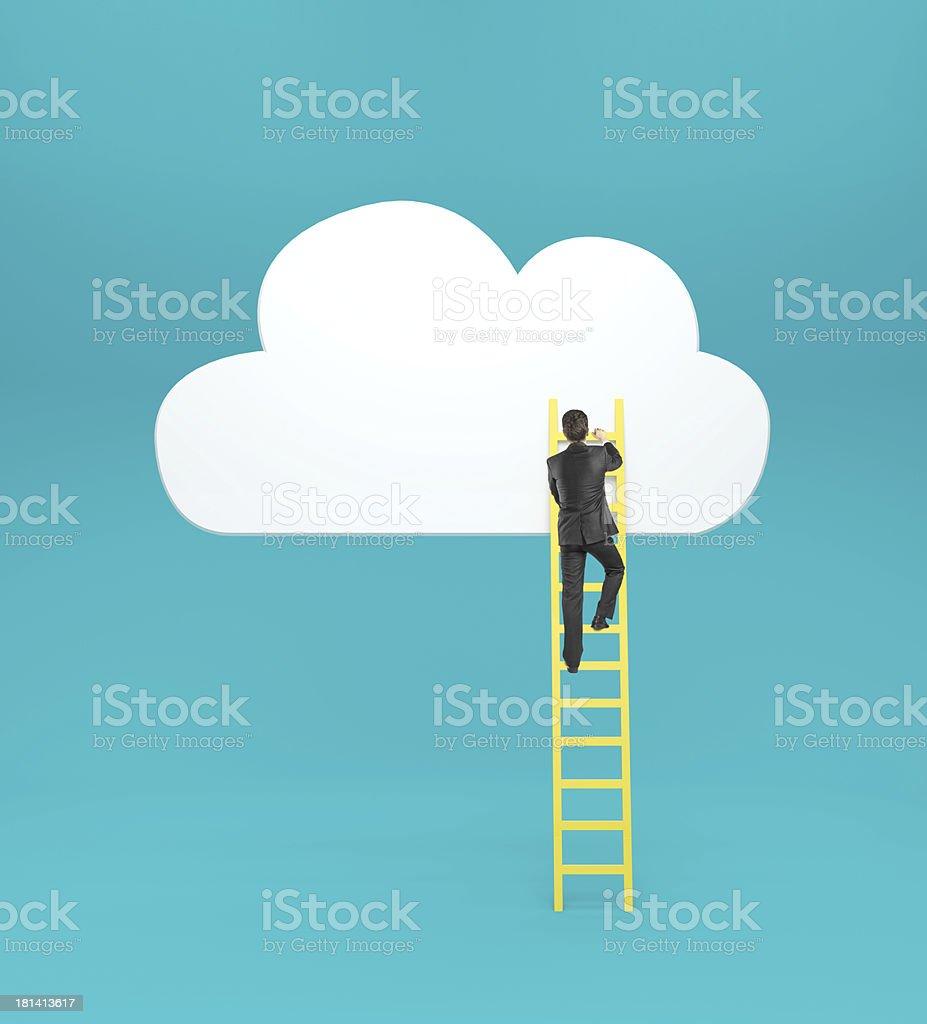 man climbing on ladde royalty-free stock photo