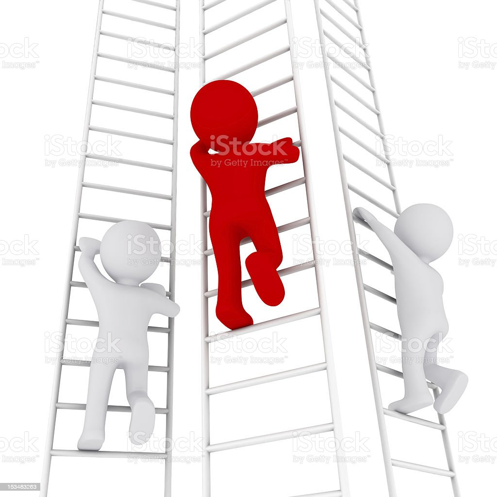 3D man climbing up the ladder royalty-free stock photo