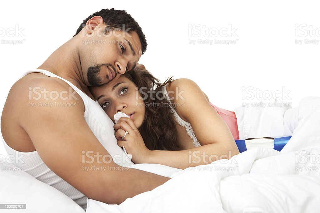 Man Comforting Sick Wife royalty-free stock photo