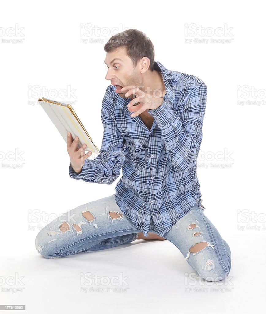 Man communicates via tablet pad royalty-free stock photo