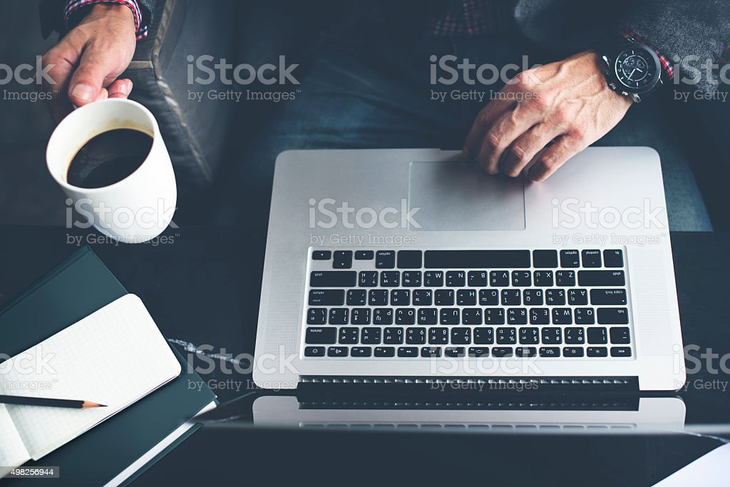 Man Computer Laptop Coffee Cafe Concept stock photo