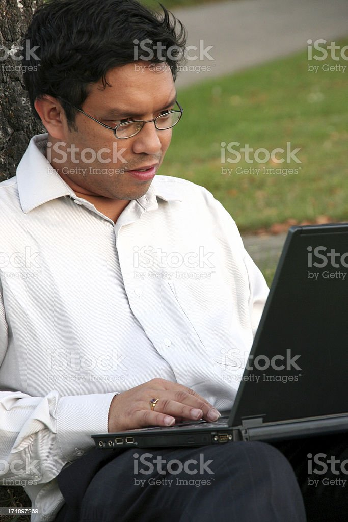 man concentrate working on his laptop stock photo