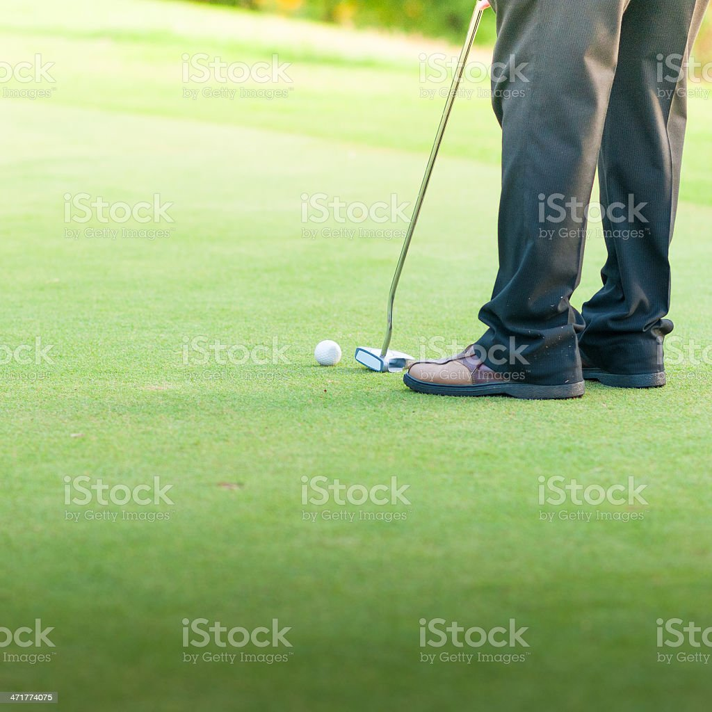 Man concentrating  making putt on golf course royalty-free stock photo