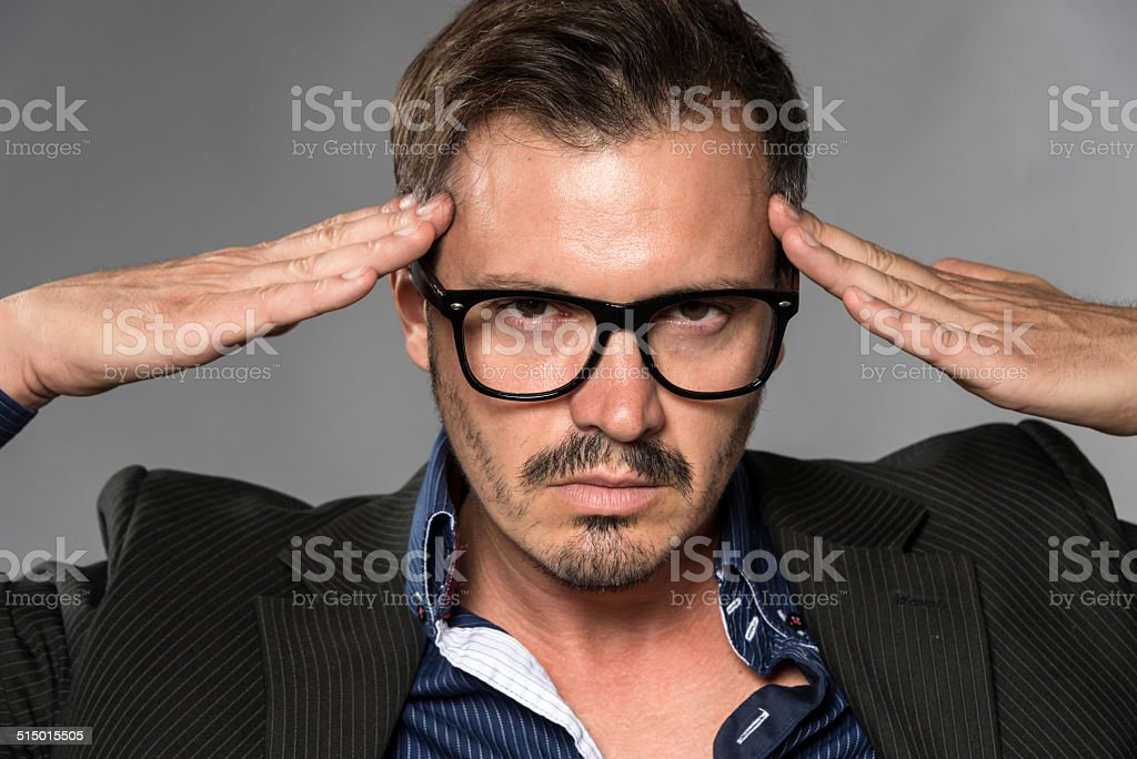 Man concentrating stock photo