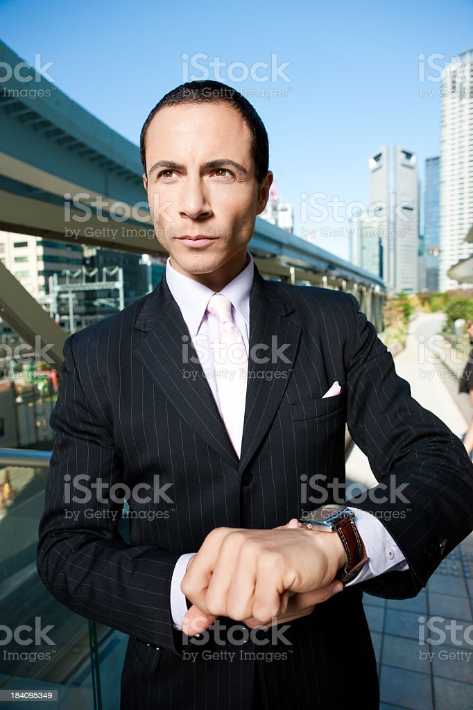Man Concerned About The Time royalty-free stock photo