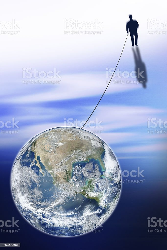 Man connected with the World stock photo
