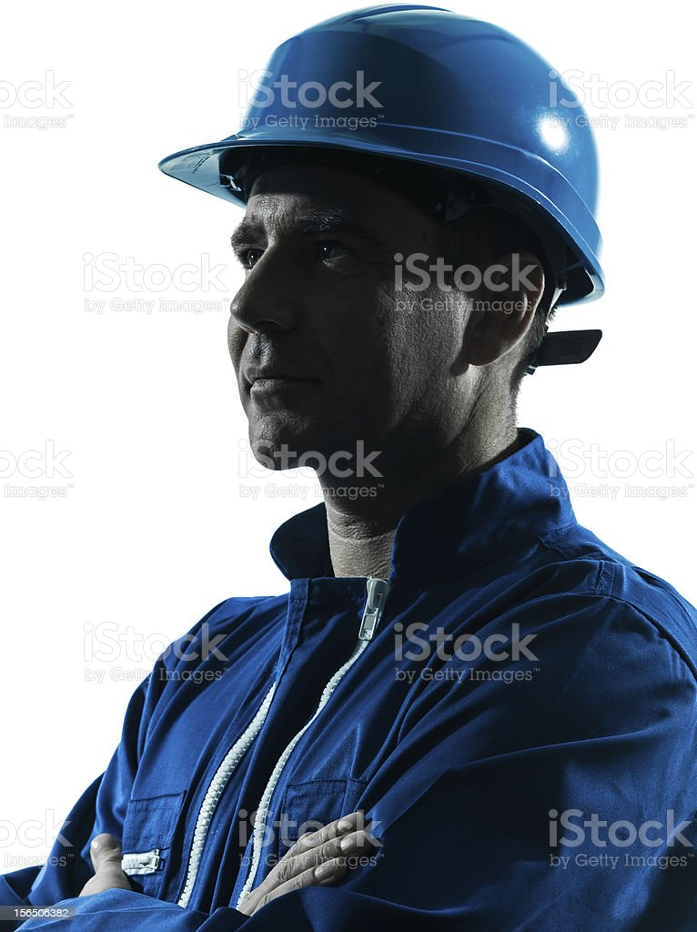man construction worker profile sideview silhouette portrait royalty-free stock photo