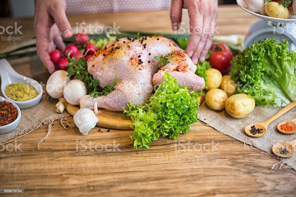 man cooking delicious and healthy food stock photo
