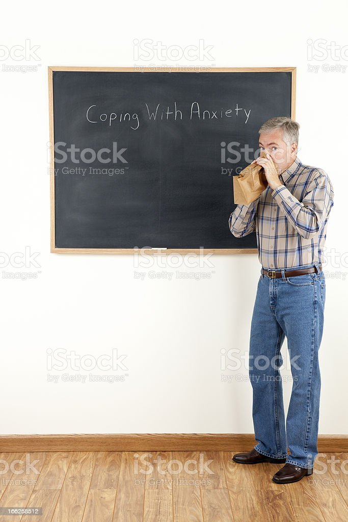 Man Coping With Anxiety stock photo