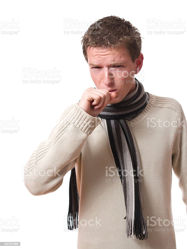 man coughing royalty-free stock photo