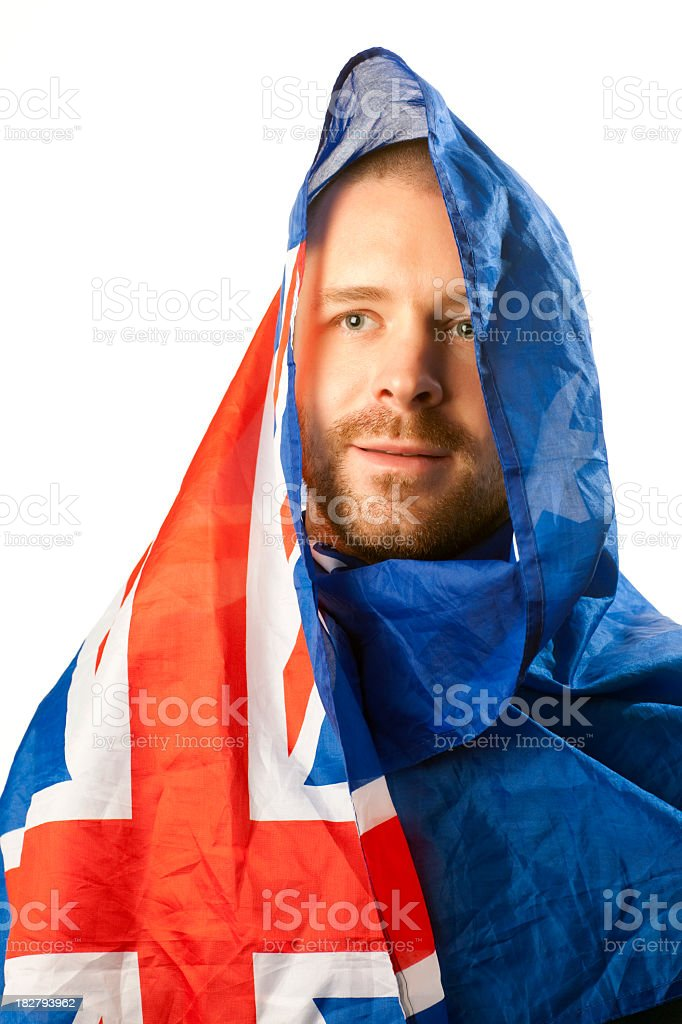 Man covered by the Australian flag stock photo