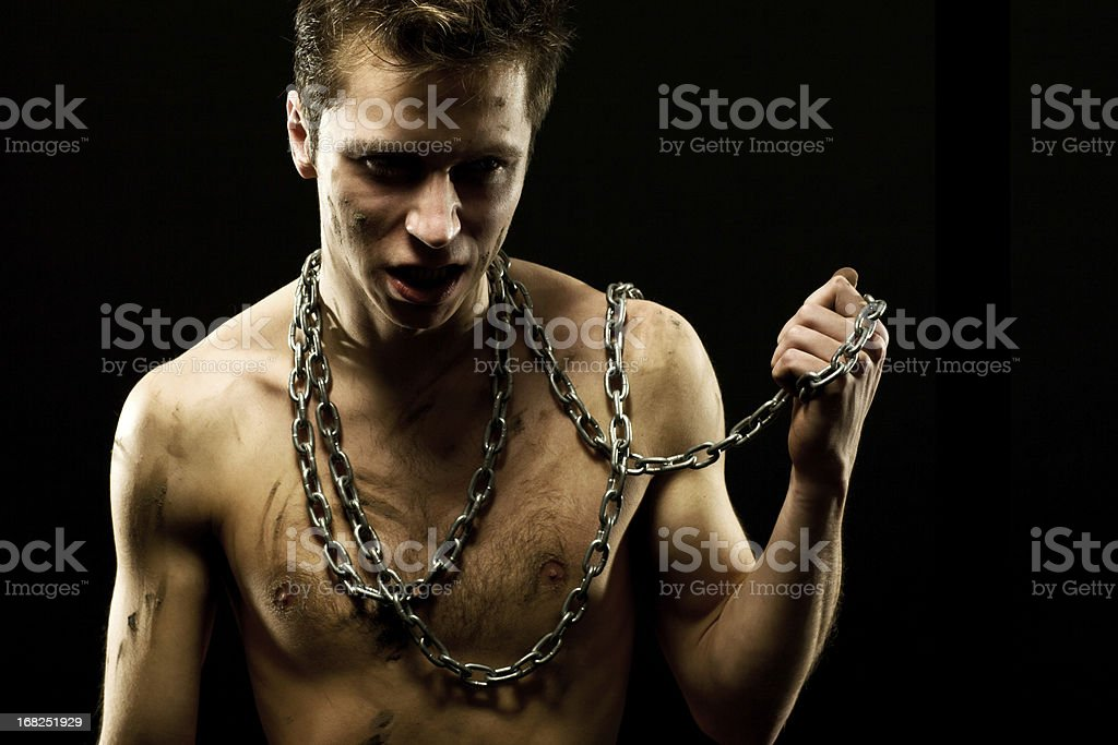 Man covered in mud royalty-free stock photo