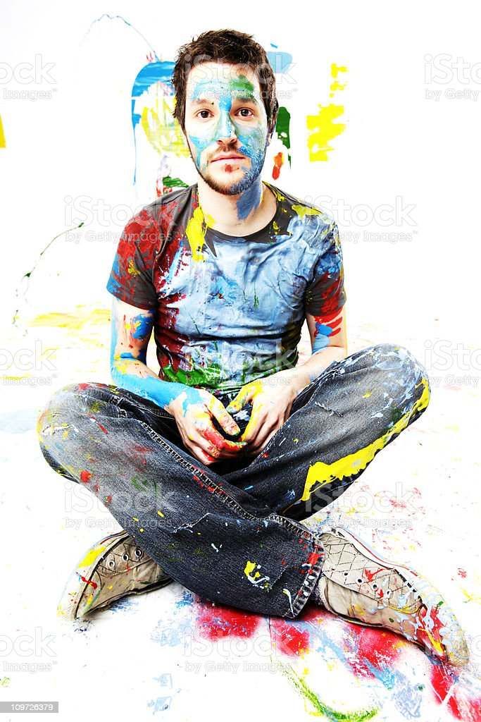 Man Covered in Paint royalty-free stock photo