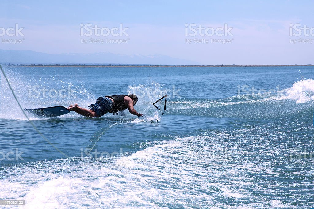 Man Crashes on Wakeboard - End Of The Rope royalty-free stock photo