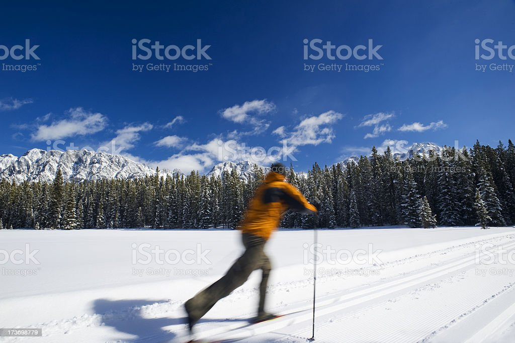 Man cross country skiing royalty-free stock photo
