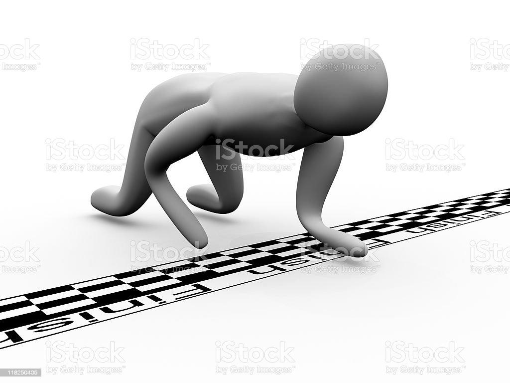 3D man crosses the finish line crawling stock photo