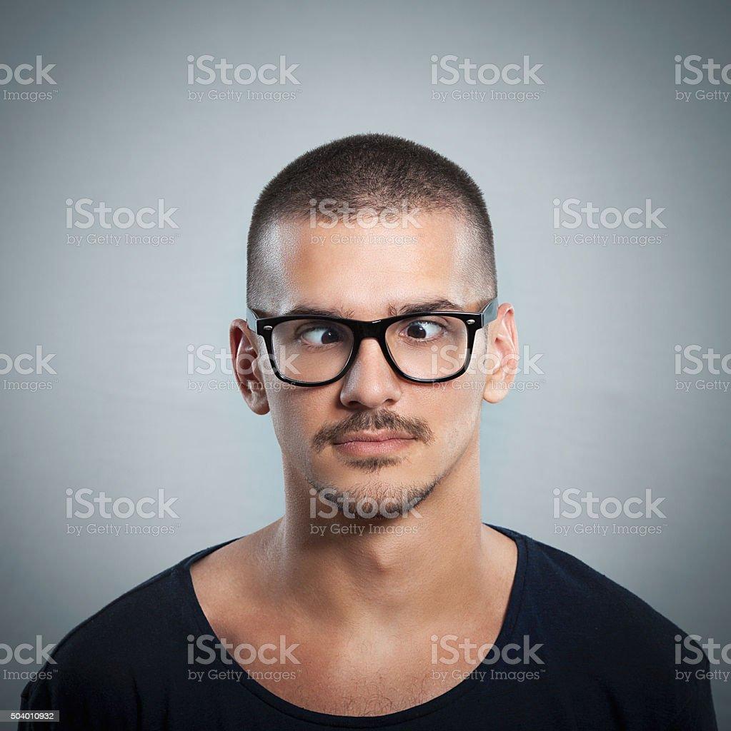 Man Crossing His Eyes stock photo