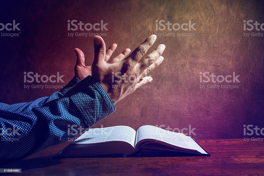 Man crying out to God to be blessed. stock photo