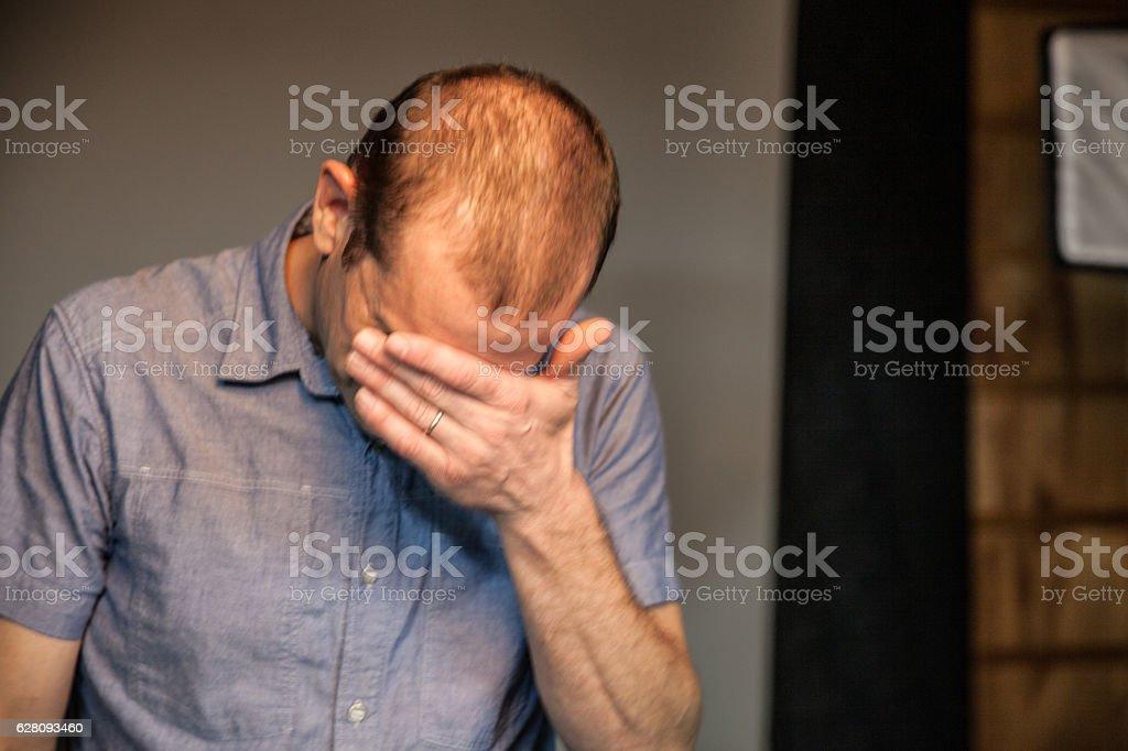 Man crying stock photo