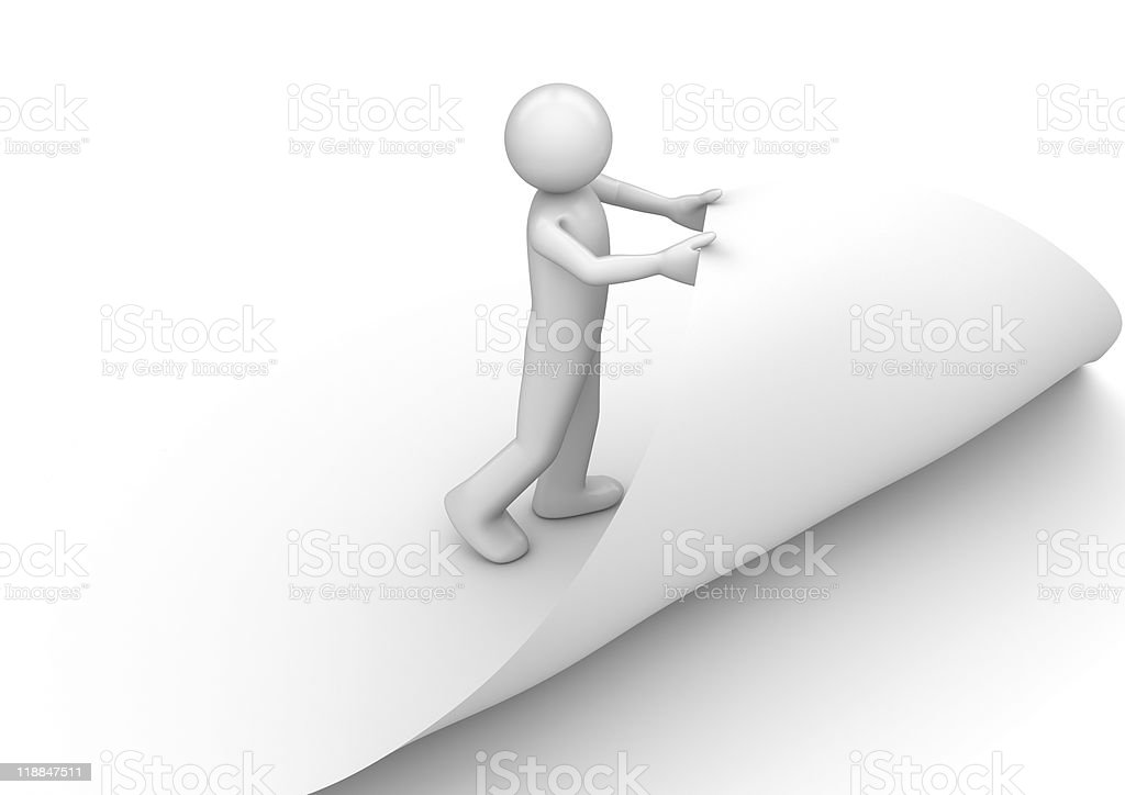 Man curling edge of the page stock photo