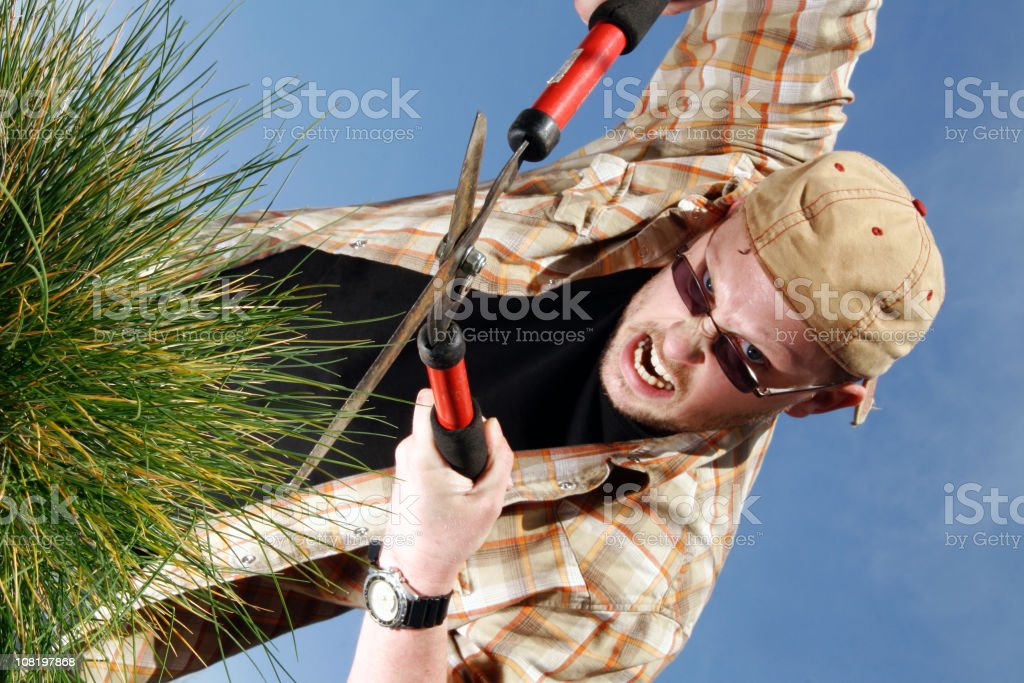 Man Cutting Grass with Clippers royalty-free stock photo