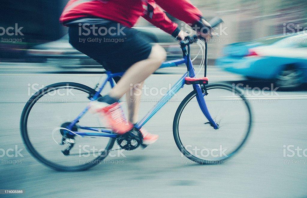 man cycling in toronto stock photo