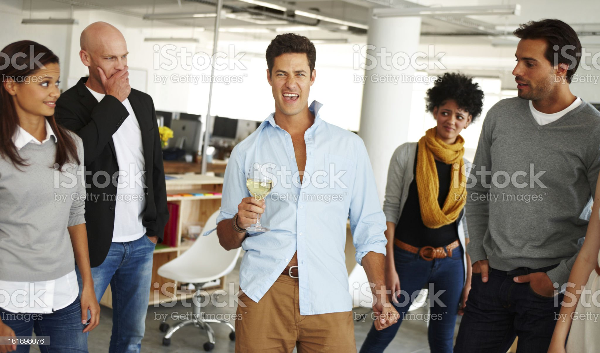 Man dancing at office party royalty-free stock photo