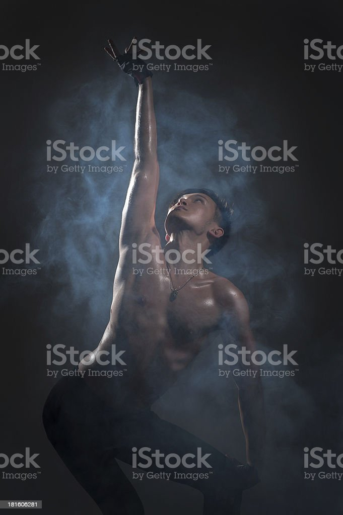 Man dancing ballet in studio royalty-free stock photo