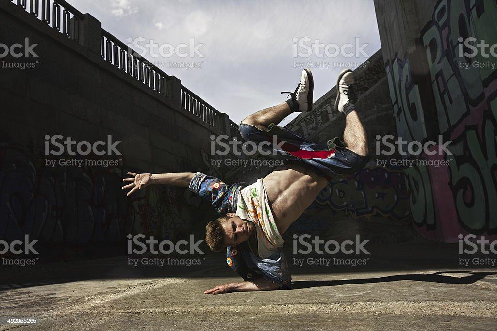 Man dancing Hip-hop in urban stock photo