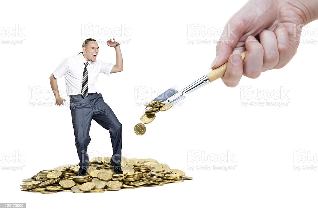 Man dancing on the heap of money stock photo