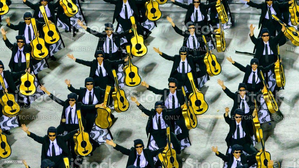 Man dancing samba during Carnival at sambadrome royalty-free stock photo