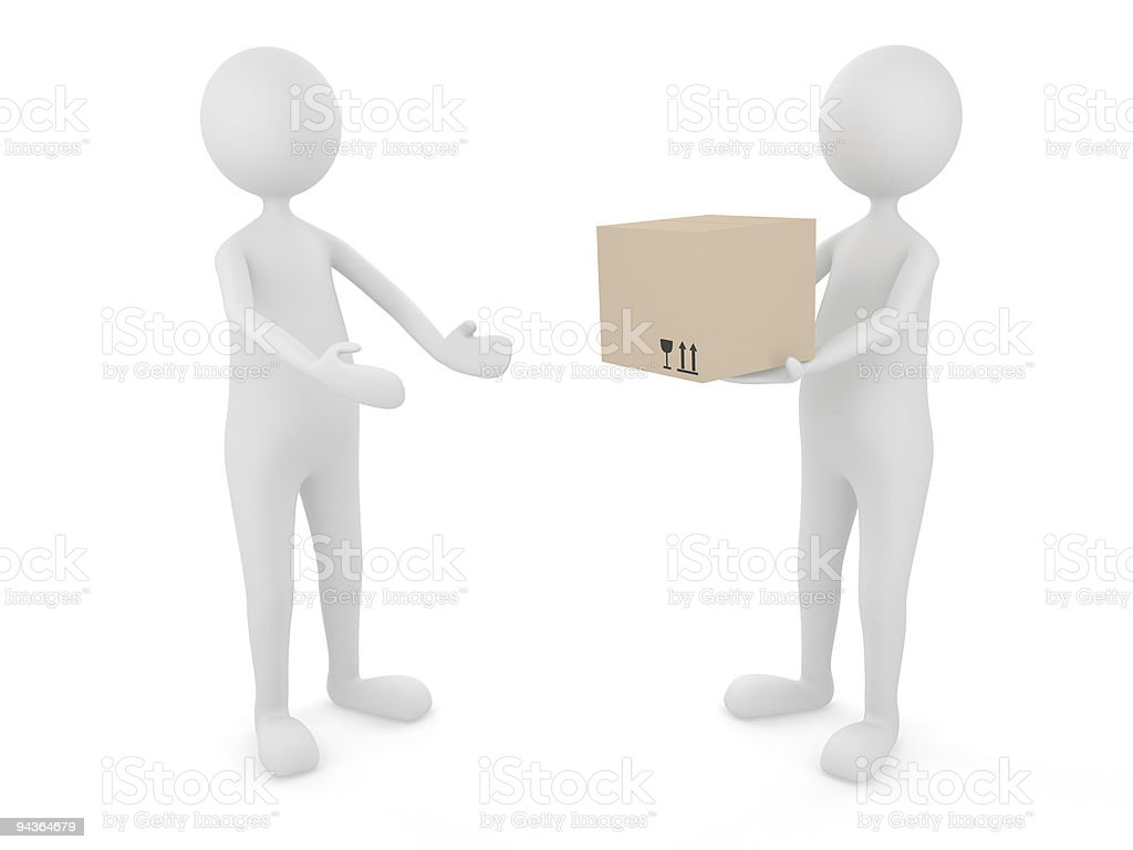 Man delivering cardboard box to a client stock photo