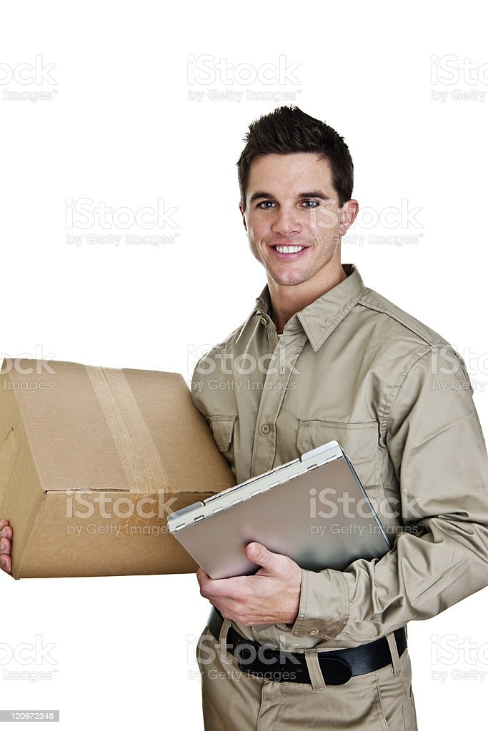 Man delivering or picking up a package royalty-free stock photo