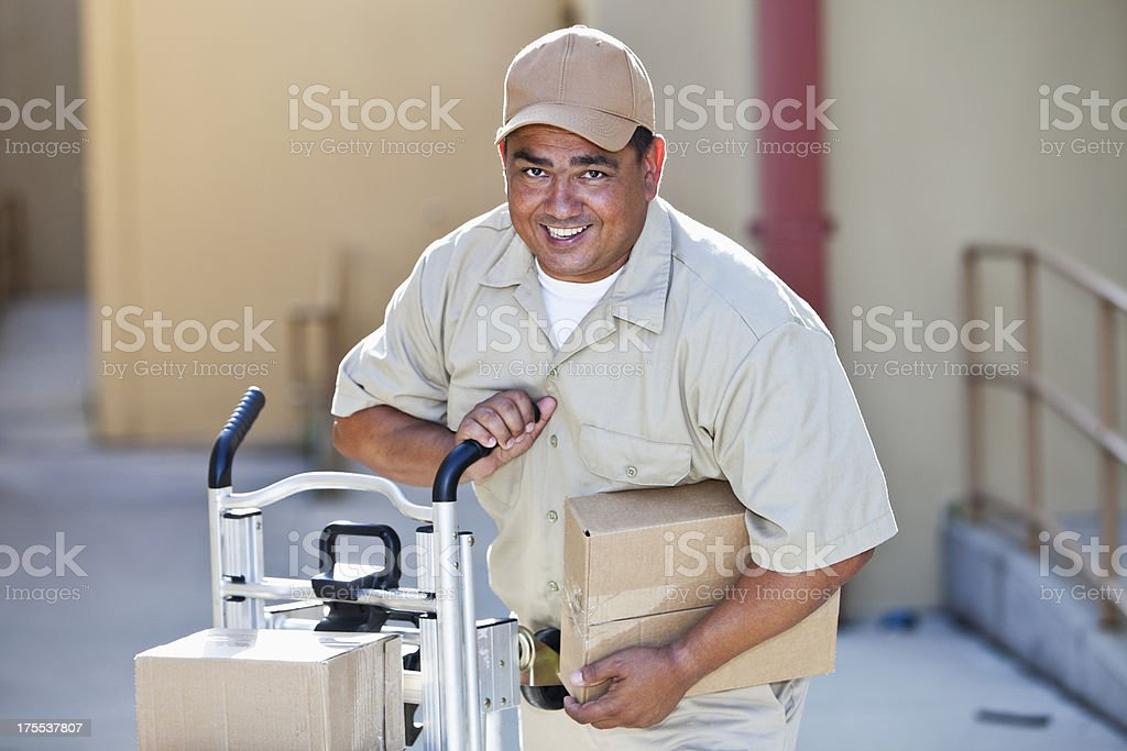 Man delivering packages royalty-free stock photo