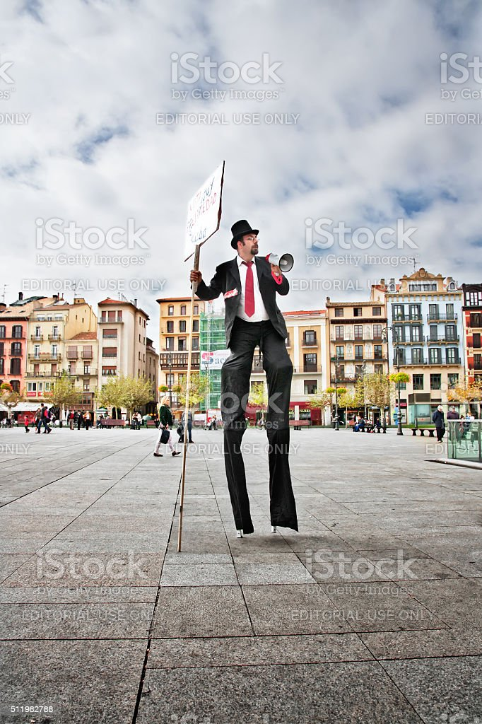 Man demonstrating for a just cause in Pamplona, ​​Spain stock photo
