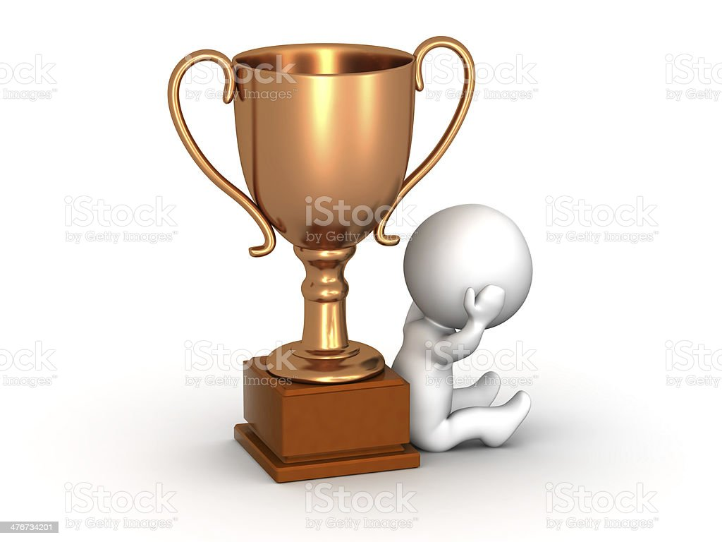 3D Man Disappointed Sitting Down Next to Bronze Trophy royalty-free stock photo