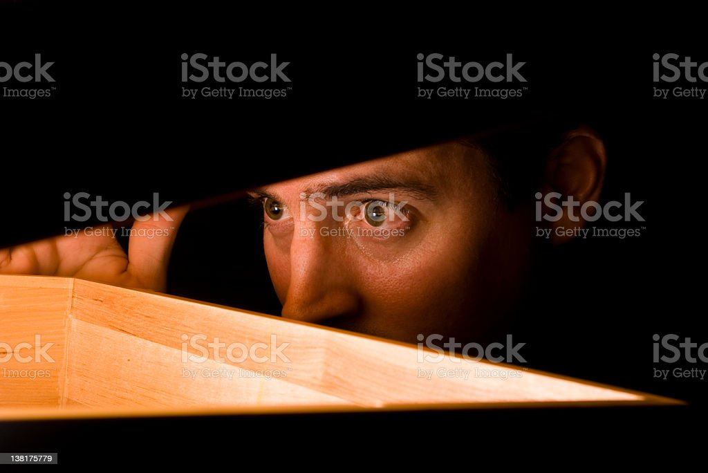Man discovers a glowing treasure stock photo