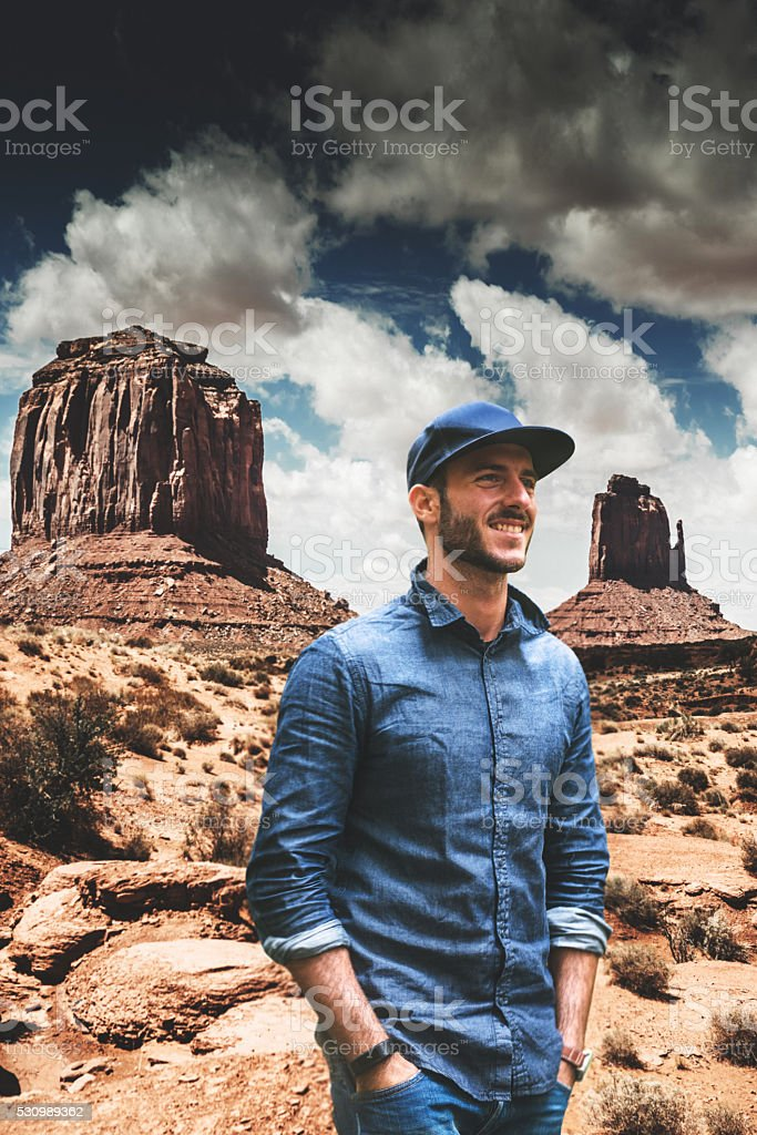 man discovery the Monument valley national park stock photo