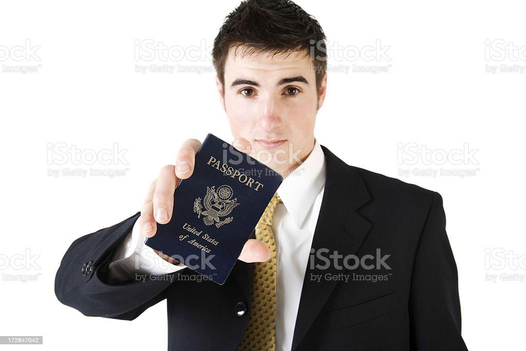 Man displaying his Passport royalty-free stock photo