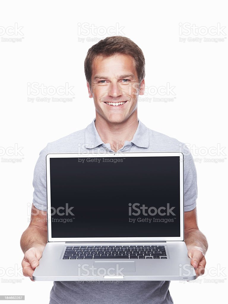 Man displaying laptop royalty-free stock photo