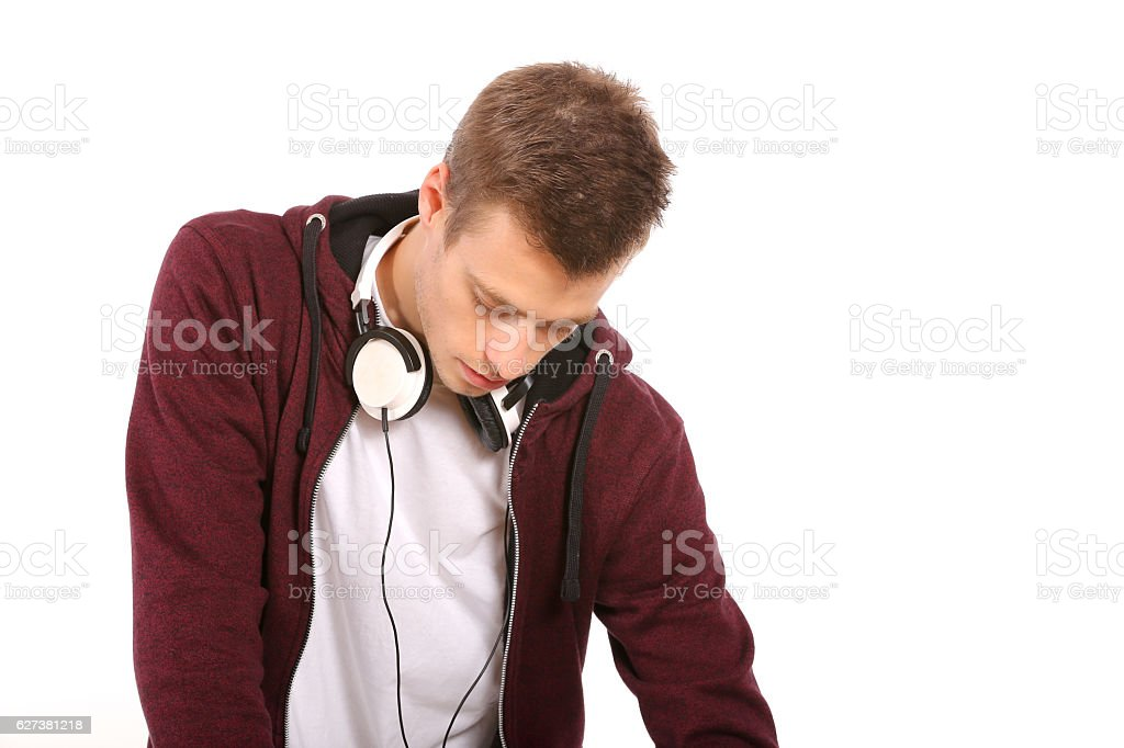 man dj with headphones isolated on white stock photo