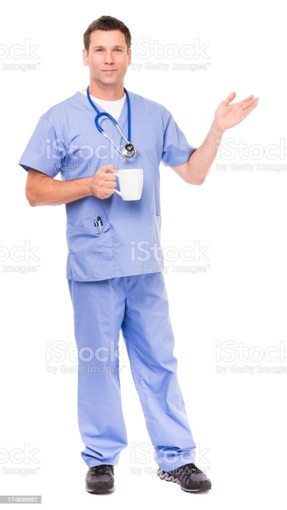 Man Doctor Surgeon Nurse Isolated on White Background royalty-free stock photo
