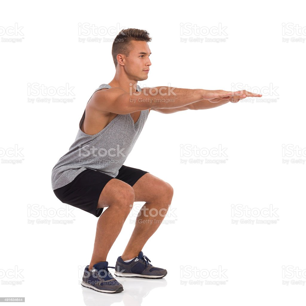 Man Does Squat stock photo