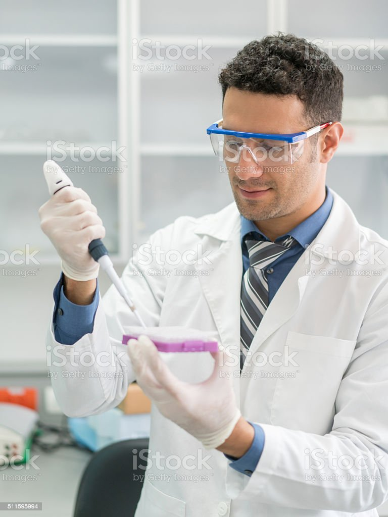 Man doing a medical test stock photo