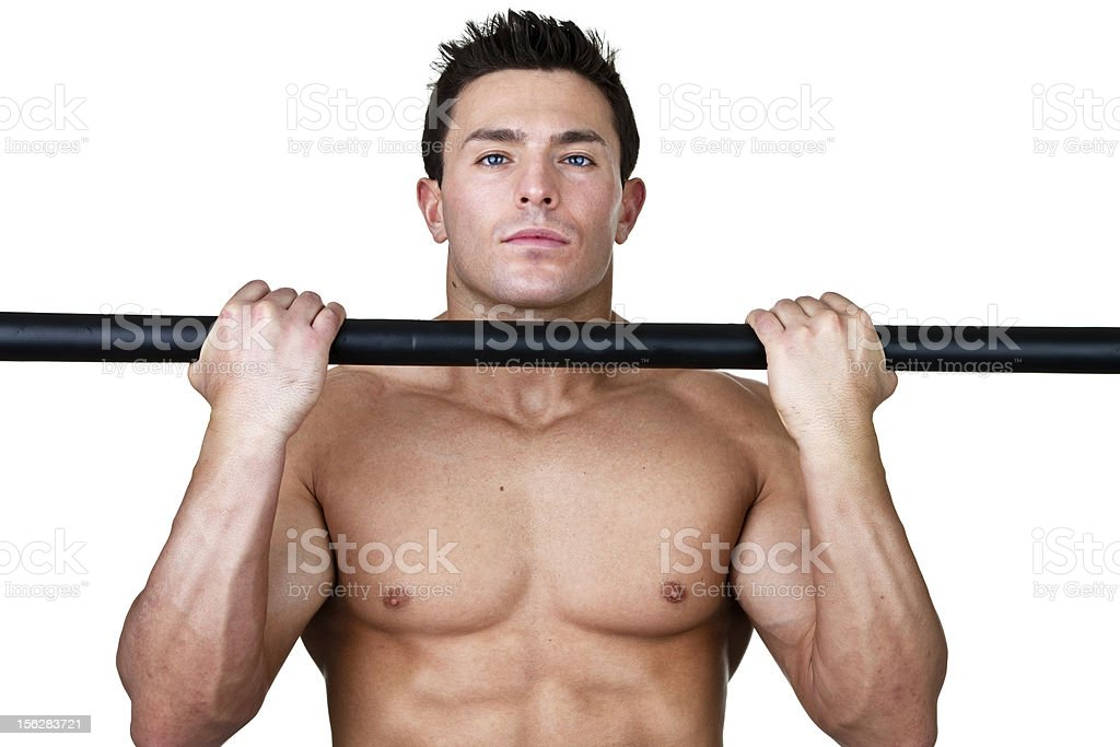 Man doing a pull up royalty-free stock photo