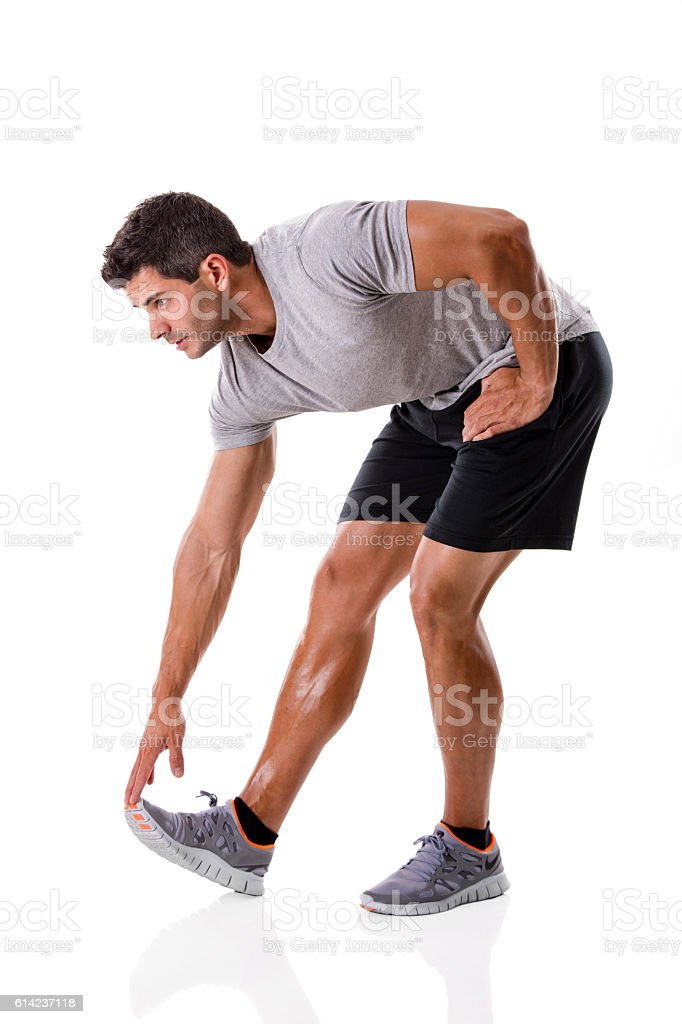 Man doing exercises stock photo