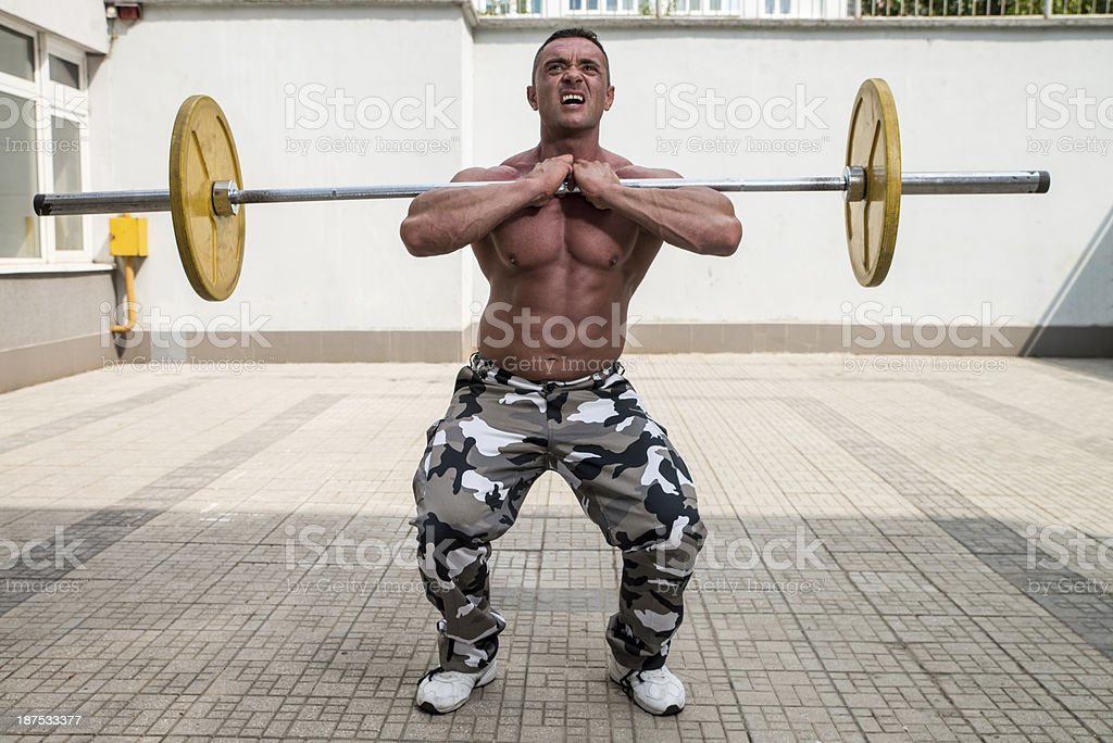 Man Doing Front Squats royalty-free stock photo