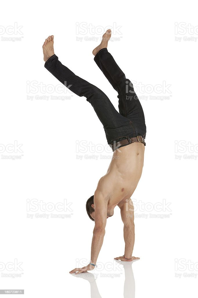 Man doing handstand royalty-free stock photo